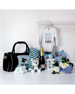 BABY BOY ALL IN ONE GIFT SET WITH CHAMPAGNE, baby boy gift hamper, newborns, new parents