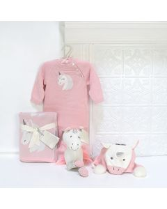 THE UNICORN LOVES THE BABY GIRL GIFT BASKET, baby girl gift basket, welcome home baby gifts, new parent gifts
