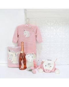 A UNICORN FRIEND FOR THE BABY GIRL GIFT BASKET, baby girl gift basket, welcome home baby gifts, new parent gifts