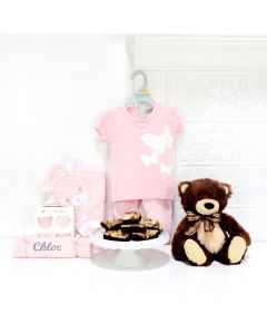 TEDDY & THE WEE GIRL GIFT BASKET, baby girl gift basket, welcome home baby gifts, new parent gifts