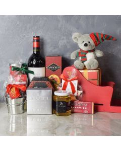 Holiday Sleigh with Wine Gift Basket