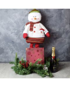 Snowman & Gourmet Chocolates with Champagne Gift Set, champagne gift baskets, gourmet gifts, gifts