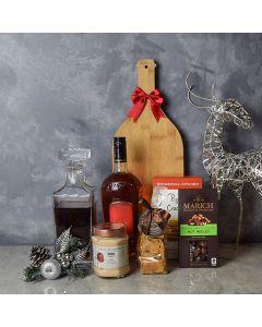 Holiday Liquor Decanter & Treats Basket