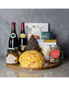 Holiday Wine, Cheese & Chocolate Gift Basket