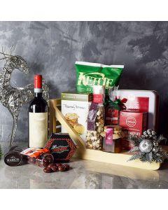 Holiday Wine & Treats Gift Basket