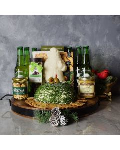 Deluxe Holiday Beer & Cheese Ball Gift Basket