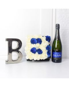 Celebrate A Baby Boy Flower Box with Champagne, champagne gift baskets, baby gift baskets