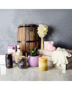 Wonder & Warmth Spa Gift Crate, gourmet gift baskets, gourmet gifts, spa gift baskets, gift baskets