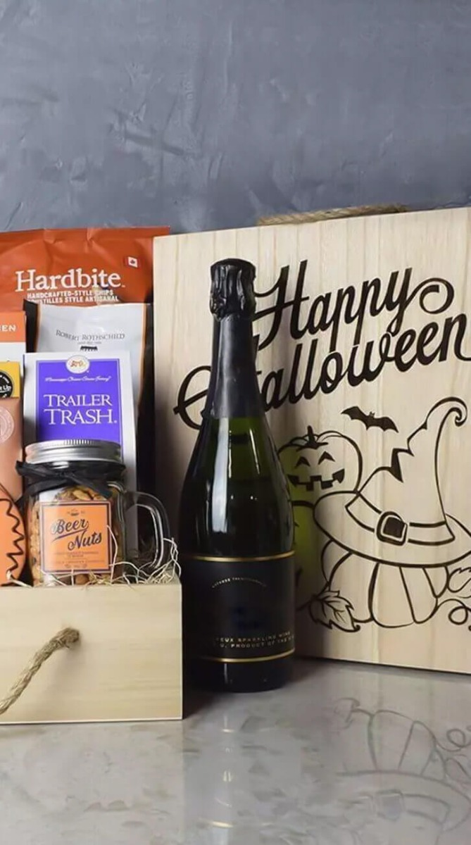 Spooky Sweets Halloween Gift Crate With Champagne