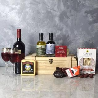 Deluxe Wine & Cheese Snack Crate New York City